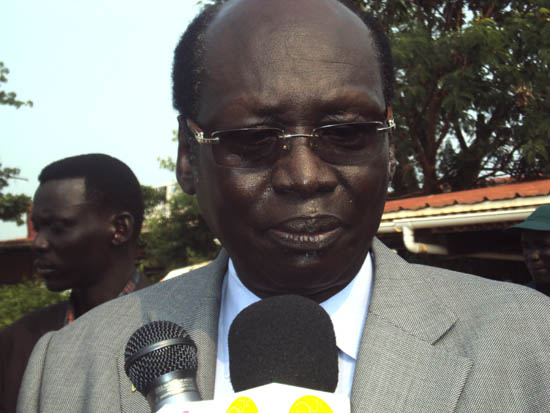 Dr. Barnaba Marial briefing the press in Juba