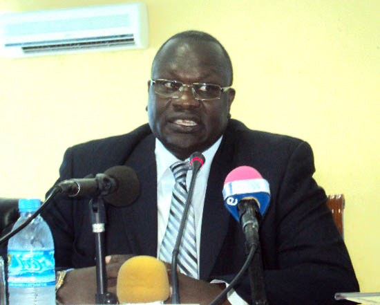 Dr Riek Machar; while addressing the press in Juba