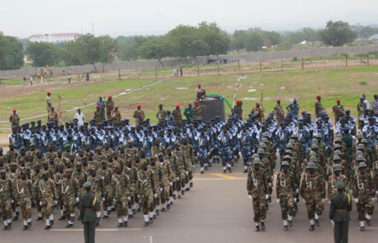 Armed forces personnel rehearsing for the big day