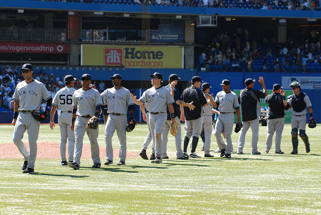 The Yankees celebrate its 4-1 victory