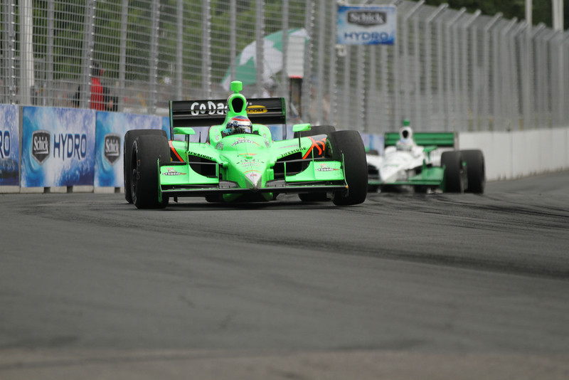 Danica Patrick roars through a turn during yesterday's race
