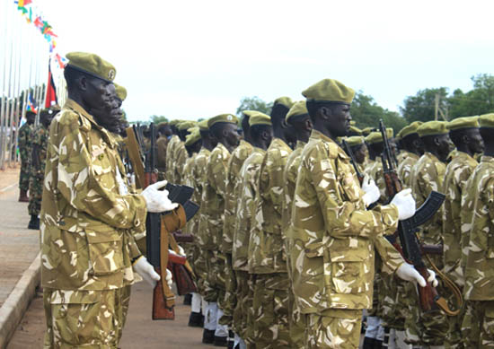 South Sudan's wildlife police parading during Martyr's day commemoration