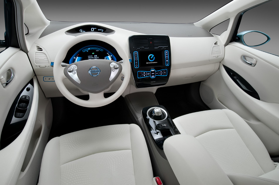 The interior of the production Nissan LEAF looks very much like a concept vehicle and is made of fully recyclable material