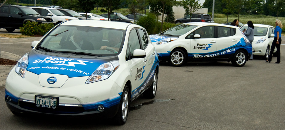 The two Nissan LEAFs delivered to Power Stream were adorned in a unique vinyl graphic