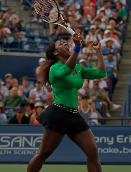 Serena Williams lets out a celebratory scream after winning the 2011 Rogers Cup in Toronto