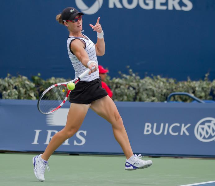 Australian Samantha Stosur follows through on a forehand return in the singles final on Sunday