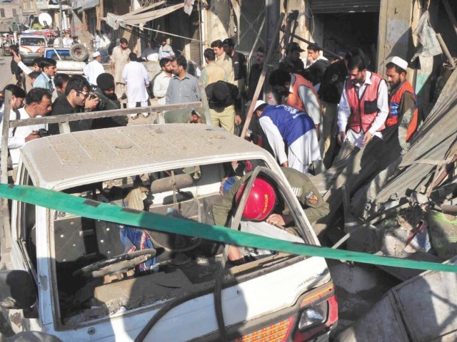 The site of a bomb blast in Peshawar