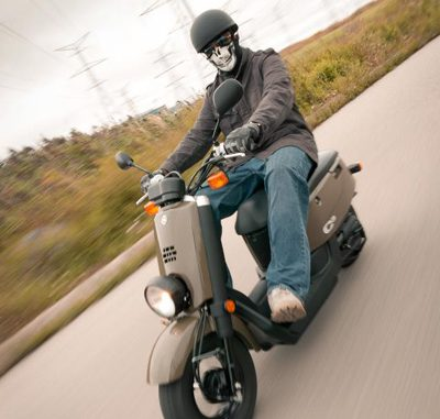 Riding the uniquely styled 50cc