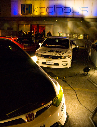 Tuner Civics served as eye candy at the entrance to Kool Haus