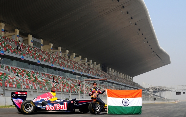Red Bull Racing's F1 car with driver Neel Jani at the Buddh International Circuit in India