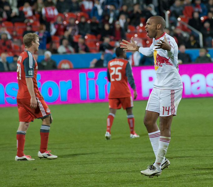 Henry taunts TFC fans after his game-tying goal (John Lucero)