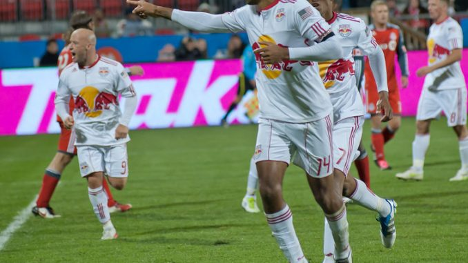New York Red Bulls striker Thierry Henry celebrates his late game-tying goal Saturday night at BMO Field (John Lucero)