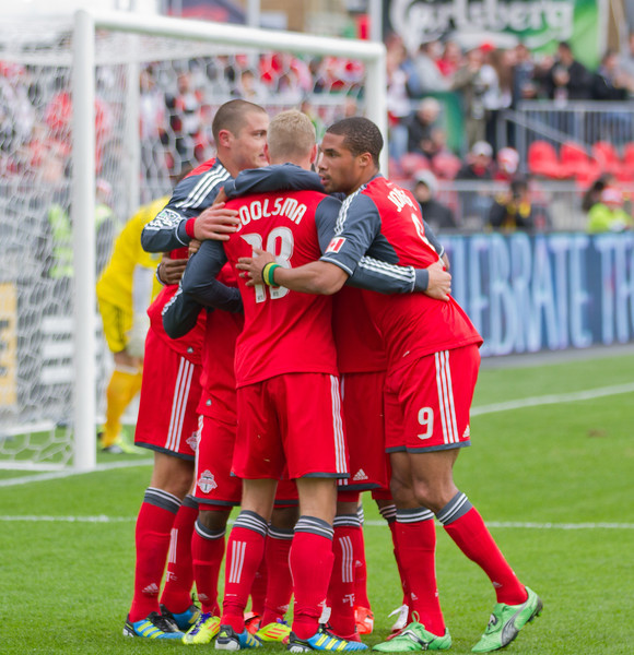 Toronto FC celebrates its first goal by Nick Soolsma (centre) (JP Dhanoa)