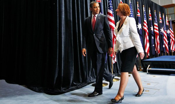 President Obama and Prime Minister Julia Gillard of Australia after a joint news conference in Canberra