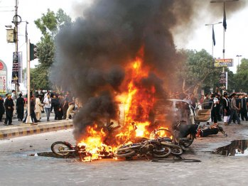 Protesters torching Karachi
