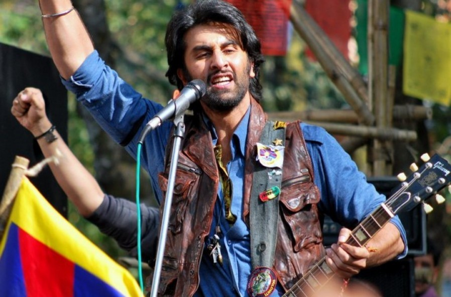 Ranbir Kapoor performing to a song in the movie Rockstar