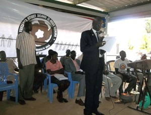Hon. Madut Yel addressing the participants during the opening session [©Gurtong]