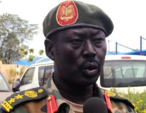 SPLA Spokesperson Col. Philip Aguer speaking to Gurtong correspondent in Juba [© Gurtong]