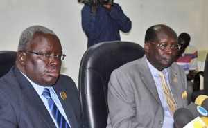 South Sudanese Deputy Finance Minister Marial Awou (left) flanked by Information Minister Dr Barnaba Marial at the revenue management workshop in Juba. [©Gurtong]