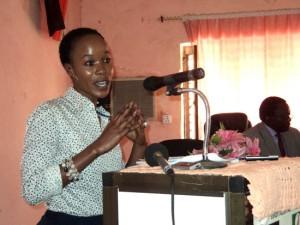 The Eastern Equatoria State Finance Minister Josephine Akulang Abalang presenting the bi-annual progressive Financial Report. [© Gurtong]