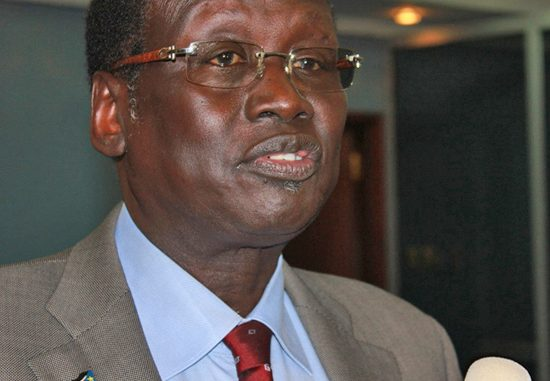 South Sudanese Information and Broadcasting Minister Dr Barnaba Marial briefs the press in Juba. [©Gurtong]