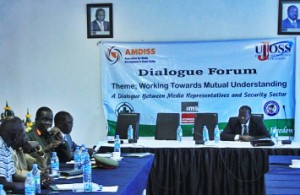 Participants at the dialogue meeting organised by the Association for Media Development in South Sudan (AMDISS). [©Gurtong]