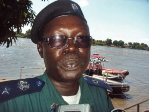 The officer in charge of River and Railway Transport at the office of the South Sudan Police Inspector General Lt. Col. Mark Taban speaks to Gurtong. [©Gurtong]