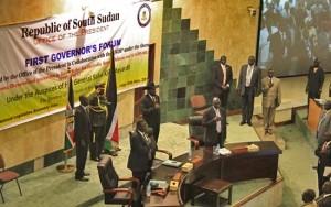South Sudan President Salva Kiir at the opening of this year's Governors' Forum in Juba, 14 November. [©Gurtong]