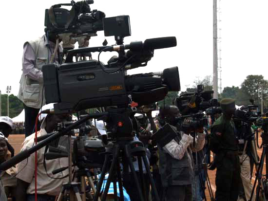 South Sudanese broadcast journalists at work