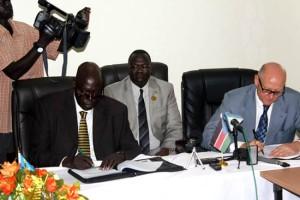 The signing of a Mou between South Sudan and Switzerland in Juba. [© Gurtong]