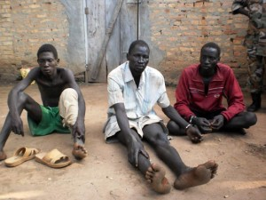 Three men who were arrested over suspected links to a UDF rebel group in Mundri East County, Western Equatoria State. [©Gurtong]