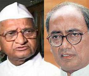Digvijay Singh (Right) latest tyrant against Team Anna