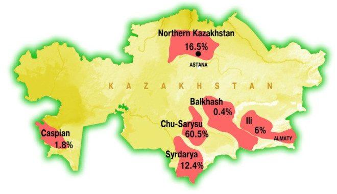 Uranium deposits in Kazakhstan