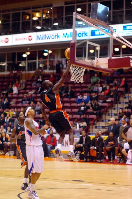 Oshawa Power point guard Tut Ruach goes up for an uncontested layup for two of his game-high 23 points Wednesday night at GM Centre.