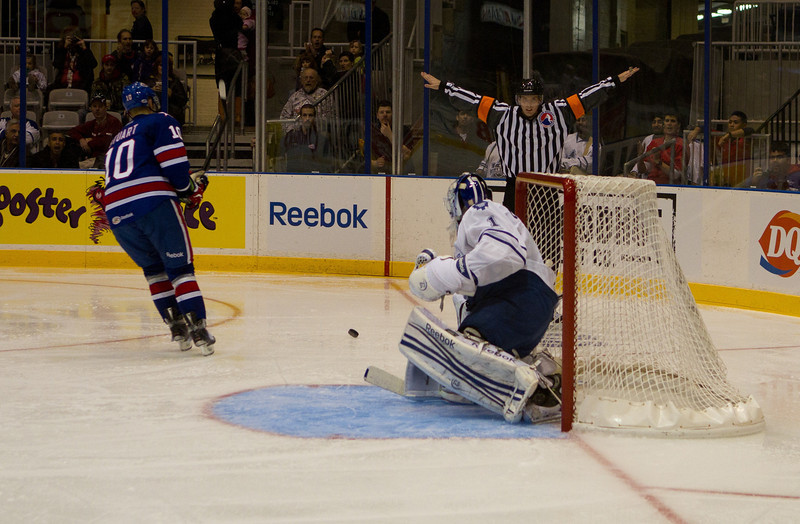Marlies goalie Mark Owuya turns aside Americans winger Colin Stuart's penalty shot attempt in the second period (JP Dhanoa)