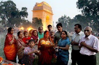 American Indian families performing Chhath Pooja