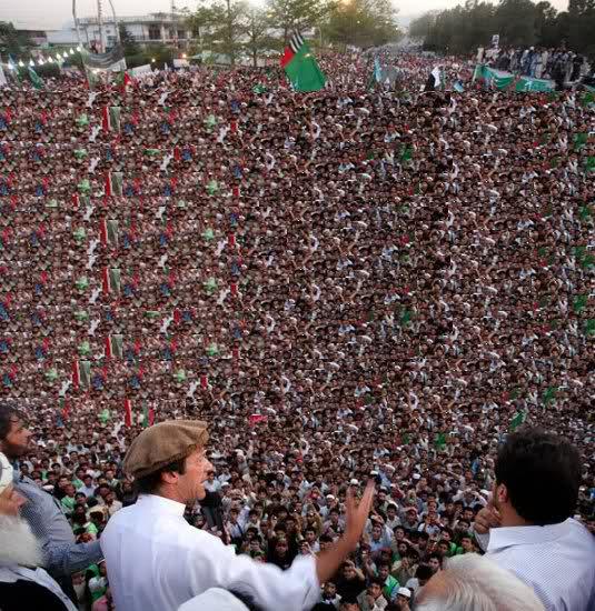 Imran khan addressing a huge crowd rally in pakistan
