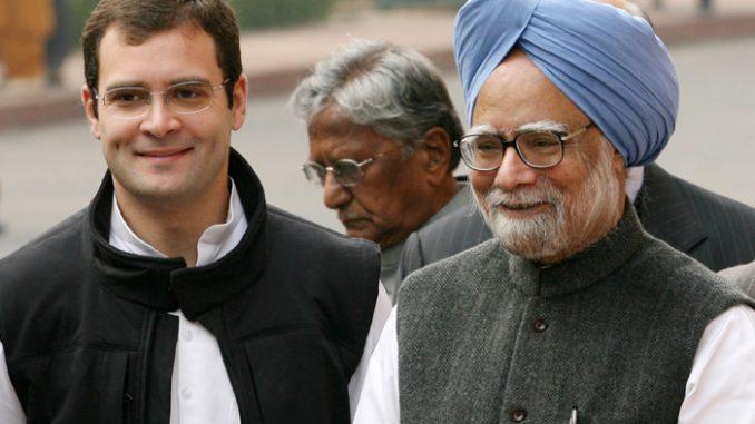 Rahul Gandhi with Prime Minister Manmohan Singh