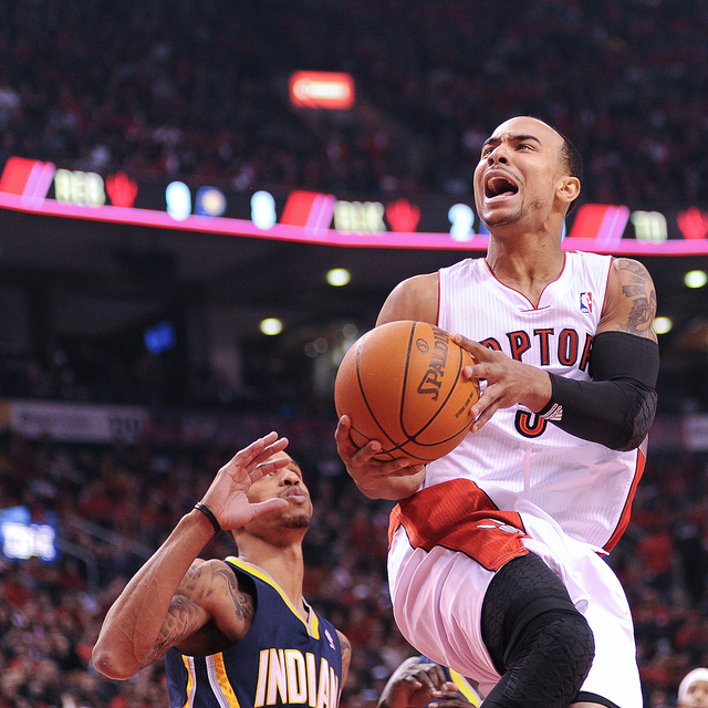 Toronto Raptors point guard Jerryd Bayless drives to the basket against the Indiana Pacers at the Air Canada Centre on Wednesday night. The Raptors came up short in the fourth quarter losing 90-85 to fall to 1-1 on the season.(Karan Vyas)