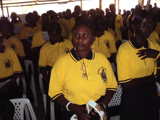 The Catholic Diocese of Torit choir listening to a sermon during Christmas Day [©Gurtong]