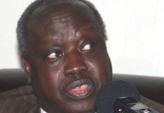 Hon. Nhial Deng Nyial speaking to press in Juba [©Gurtong]