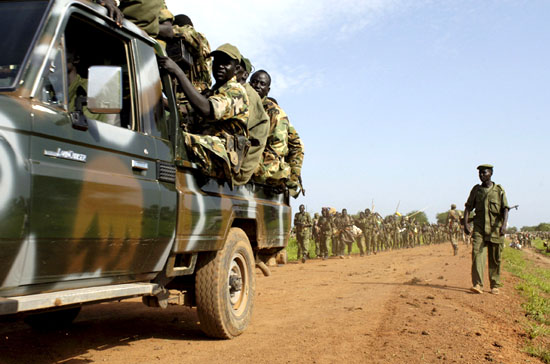 SPLA Solders patrolling an area during a past mission