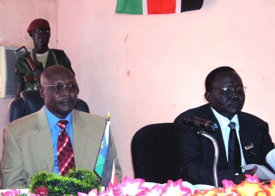 (L-R) Governor Lobong Lojore and Mr. Emmanuel Ambrose Ocholimoi addressing legislatures during closure [©Gurtong]