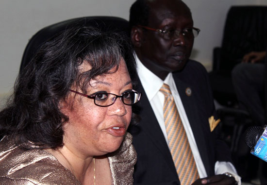 Ambassador Susan Page flanked alongside with Dr. Marial Benjamin while addressing the press in Juba [©Gurtong]