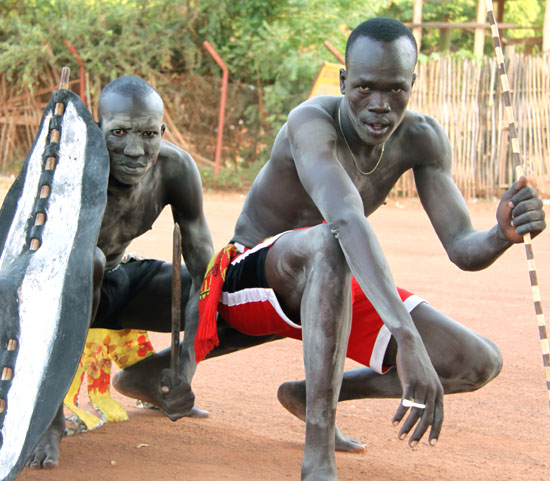 Youth members displaying their traditional regalia as a way of using tradition to create peace in Rumbek [©Gurtong]