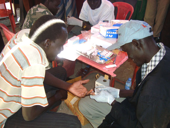 VCT officials testing citizens at the Bentiu stadium in Unity State [©Gurtong]