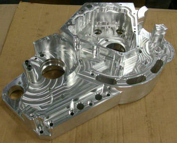 One half of the Hellcat engine case, machined from aircraft grade billet aluminum.
