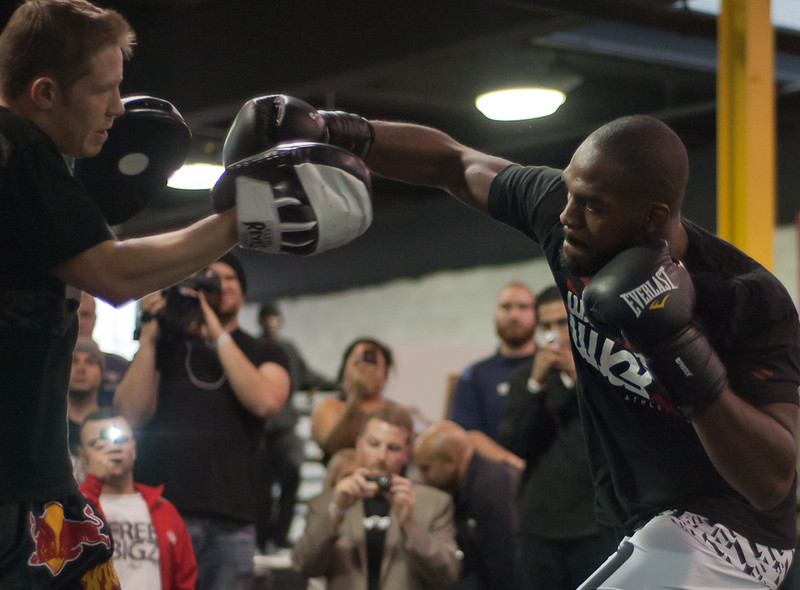Jones throws a punch at his training partner during the UFC open workouts on Wednesday in Toronto (John Lucero)