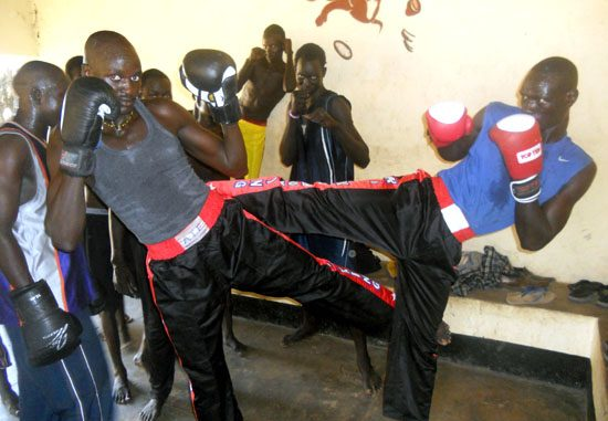 Kickboxers demonstrate their tactics at their training centre in Nimera Talaata in Juba [©Gurtong]