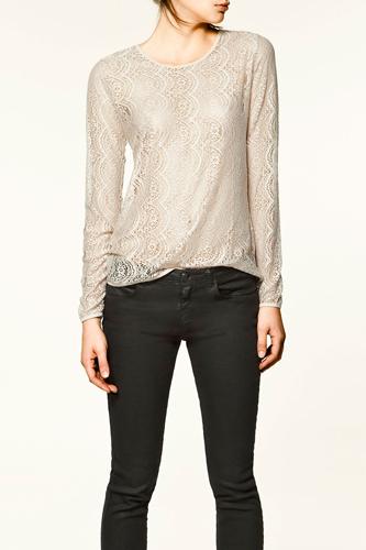 Zara Silk Lace T-Shirt, $25.90, available at Zara,